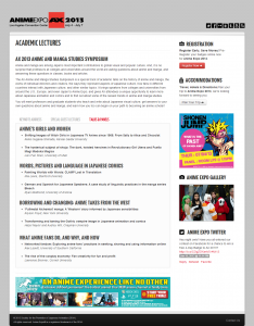 Academic Lectures - Anime Expo® 2013 - Los Angeles Conventions Center (LACC) July 4 – 7 2013